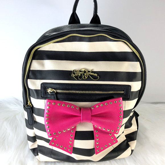 6b291840c3f Betsey Johnson Bags   Striped Backpack With Pink Bow   Poshmark